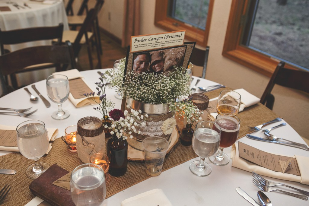Burlap and lace table centerpiece with baby's breath